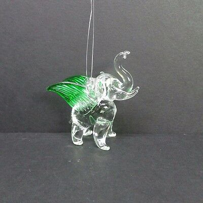 Hand Blown Glass Flying Elephant Ornament Green Wings Lucky Elephant Statue