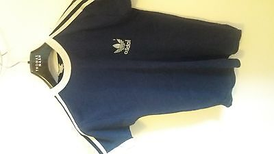 vintage 70s ADIDAS BLUE WHITE RINGER STRIPED SLEEVE ROUND NECK JERSEY t-shirt S