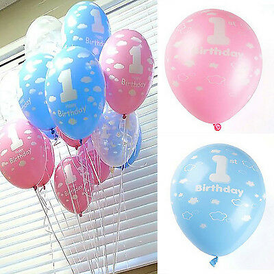 20pcs Baby 1st First Birthday Ballons Girl Boy Printed Number 1 Party Decoration