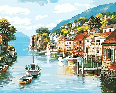 DiY oil painting, paint by number kits- Coastal village 16*20 inches.