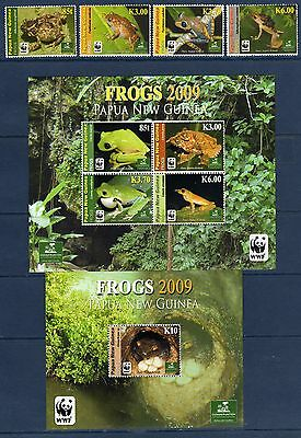 PAPOUASIE PAPUA 2009 WWF Frogs Frosch Grenouille Mi 1391/1394 + Bl 77/78 MNH **