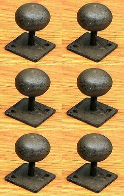 Set of 6 Cast Iron Antique Style Rustic Drawer Cabinet Knobs Handles Pulls 1.25""