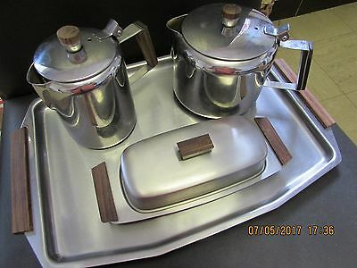 Retro stainless steel tea pots and tray 1970's