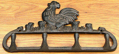 """Rooster Coat Hook Cast Iron Lodge Country Wall Hanging Decor 5.5x10x1"""""""