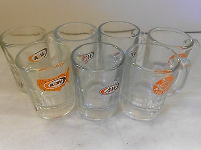 7 Vtg Mini A&W Root Beer Mugs 3 Different Logo Styles.