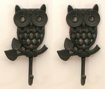 """Set of 2 Brown Detailed Cast Iron Wall Hanging Owl Hooks Decor Each 4x7.5x2"""""""