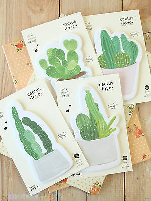 Cactus Love Sticky Notes cute succulents cartoon plants planner note memo pad