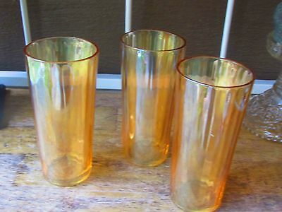 Vintage Peach Lusterware Marigold  Ribbed Tumblers, 6.5 inches tall, Set of 3,