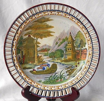 C19Th Staffordshire Hand Painted Ribbon Plate With An Oriental Boating Scene