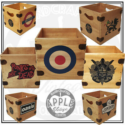 """Record Box 7"""" Vintage Wooden Single Crate Stax Motown SKA Sun Records"""