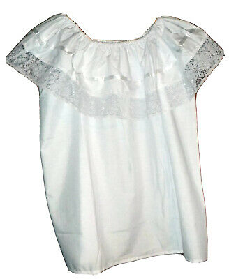 Womens White Off-Shoulder Ruffle Top Lace Ribbon Mexico Folklorico Fiesta Dance