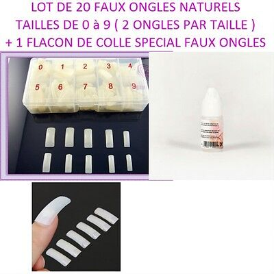 Lot 20 Capsules Tips Naturel Faux Ongle Gel Uv Vernis + Colle Ong016 /pochette