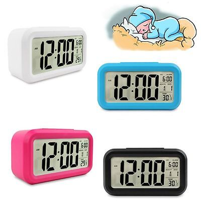 Light Mute Date Temperature Alarm Clock Snooze Function LED Digital Display