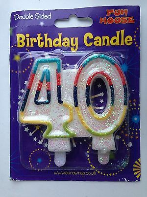 Candle Age 40 40th Birthday Cake Decoration Double Sided Forty