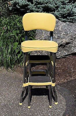 Vintage Cosco Step Stool Seat Pull Out Steps Mid Century Kitchen Yellow