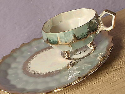 Vintage Royal Halsey Japan green iridescent footed tea cup teacup snack plate
