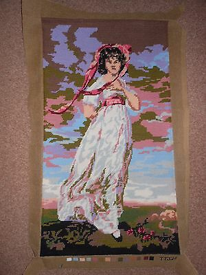 Beautiful Large  Completed Tapestry - Lady in White Dress