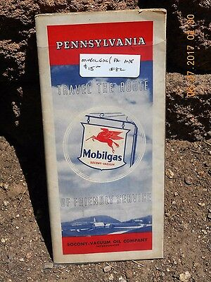 Mobilgas  Vintage Road Map of Pennsylvania 1930's or 40's