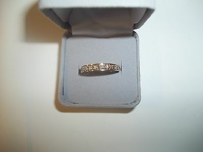 Diamond half eternity channel set ring 9 ct gold 9 stones size O 2.1 grams