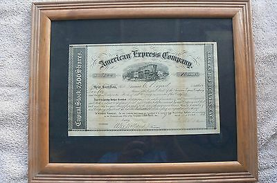 1858 Rare First Edition American Express Stock Certificate Wells Fargo Signed !