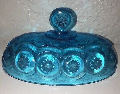Vintage Moon & Stars Pattern Glass LE Smith Turquoise Oval Butter Dish Lid Only