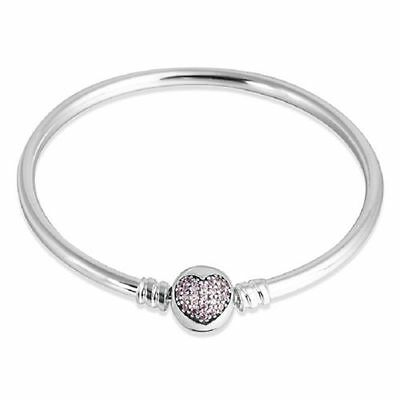 Authentic Pandora Moments Silver Bangle with Sparkling Heart Clasp ,19CM