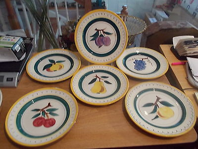 """6 STANGL 8 1/4"""" FRUIT Salad Plates - Terra Rose w/Assorted Fruits in Center"""