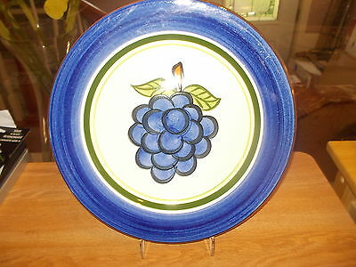"""STANGL 12"""" GRAPE Round Platter Chop Plate - Blue Band w/Grapes in Center"""