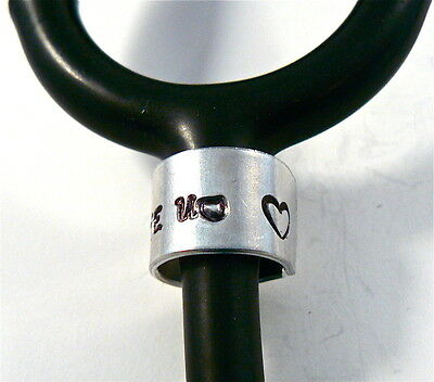 Stethoscope ID tag Ring. Personalized Engraved Name,Stethoscope Name Tag, Heart