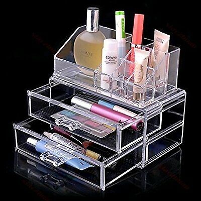Cosmetic Jewellery Rack Makeup Organizer Box Case Clear 2 Storage Drawers New