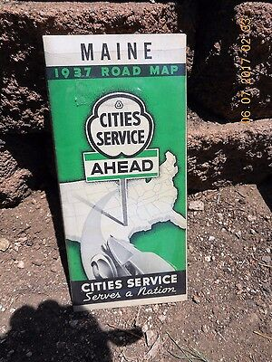 1930's Cities Service Gas Station Maine Road Map Tourist Edition