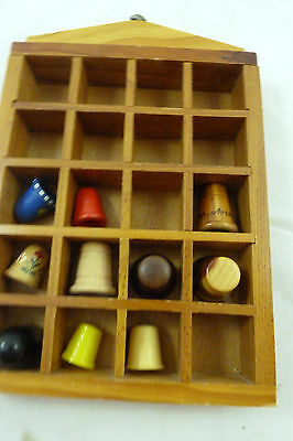Vintage Wooden & Plastic Thimbles Wood Thimble Lot In Wall Shelf Case