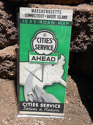 1937 Cities Service Gas Station Mass,CT,RI Road Map