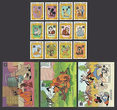 Gambia 1994 Disney 1994 Chinese New Year Of The Dog Set & 3 M/sheets Mnh
