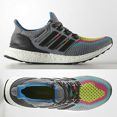 9ddcde2ce adidas Ultra Boost 2.0 Mens Grey Green Running Shoes Trainers AQ4003 - SALE