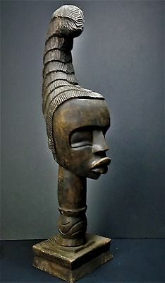 African Art Carved Wood Woman Head Sculpture Vintage Tribal Matriarch Africa