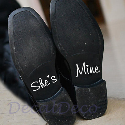 She's Mine Wedding Shoe Vinyl Deco Decal Sticker Bridal Groom Wedding Shoe