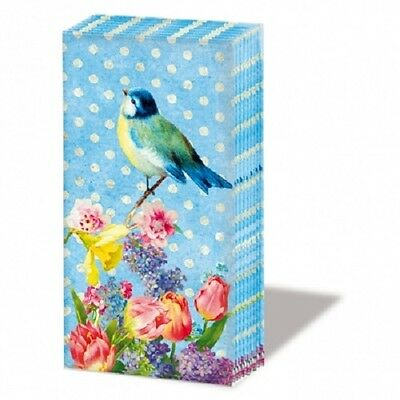 Packet of High Quality Paper Pocket Tissue Handkerchiefs - Vintage Bird