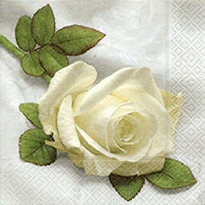 3 Paper Napkins for Decoupage / Tea Parties / Weddings - White Rose