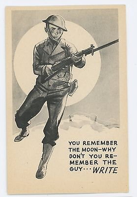 WWII World War 2 Army Soldier, Full Moon, Write! Vintage Postcard