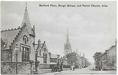 Vintage Postcard.Bedford Place,Burgh School & Church, ALLOA. Unused. Ref:75543.