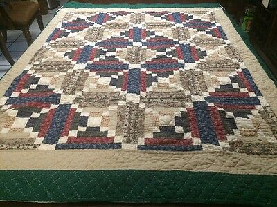 """Vintage Hand Made Multi Color Quilt / Throw With Hanger 56"""" X 48"""""""