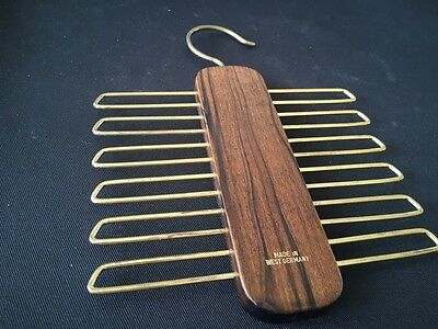 Vintage Wooden And Brass Men's Tie Hanger Made In West Germany Excellent Order