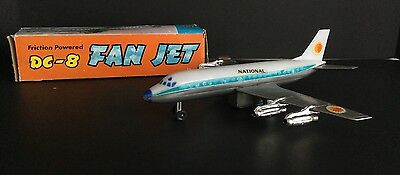 DC-8 Fan Jet National Airlines Friction Powered Made in Hong Kong w/ Box Petrel