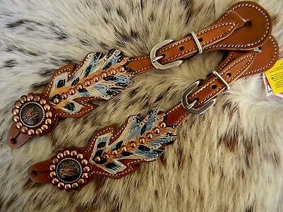 TEAL FEATHER Copper Feather Conchos Leather Western Ladies Pair Spur Straps