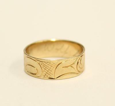 Northwest Coast Haida 14K Gold Wolf theme ring 3.41 grams Size-7