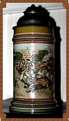 Mettlach Etched Rugby Themed German Stein By Villeroy & Boch