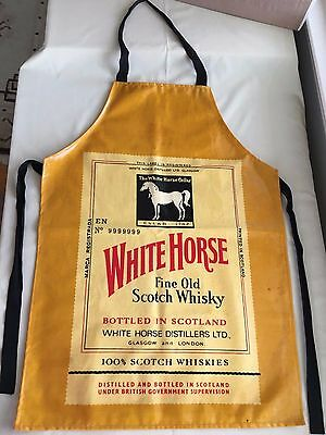 Vintage White Horse Scotch Whisky Vinyl on Canvas Apron Made in Scotland