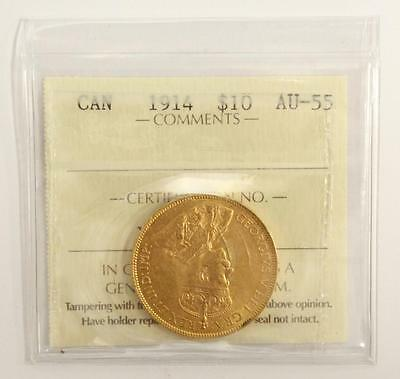 1914 Canada $10 Gold coin ICCS AU55 Choice almost uncirculated