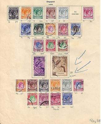 British Singapore Stamps 1948 on album page includin SC# 122 Used /MH Cat.$83